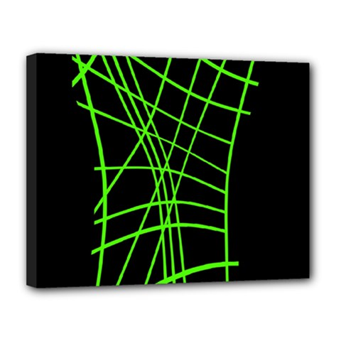 Green neon abstraction Canvas 14  x 11
