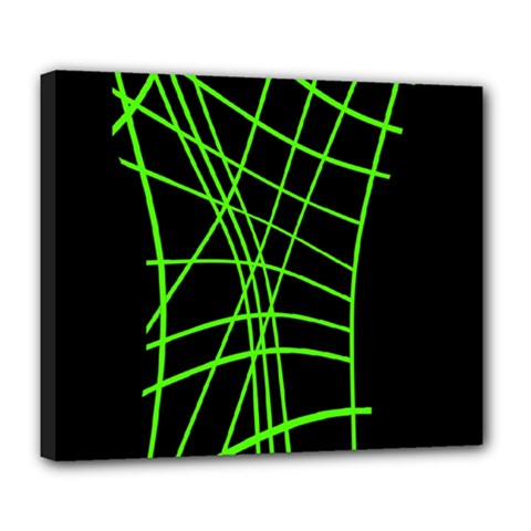 Green neon abstraction Deluxe Canvas 24  x 20