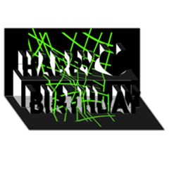 Green neon abstraction Happy Birthday 3D Greeting Card (8x4)