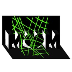 Green neon abstraction MOM 3D Greeting Card (8x4)