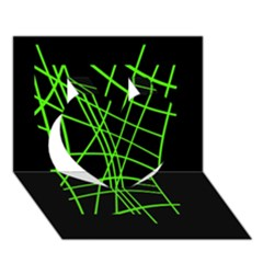 Green neon abstraction Heart 3D Greeting Card (7x5)