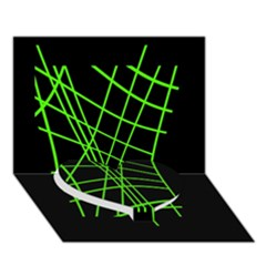 Green neon abstraction Heart Bottom 3D Greeting Card (7x5)
