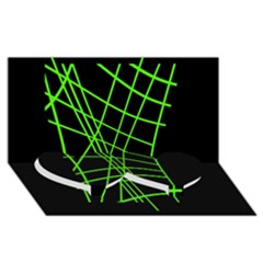 Green neon abstraction Twin Heart Bottom 3D Greeting Card (8x4)
