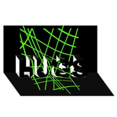 Green neon abstraction HUGS 3D Greeting Card (8x4)