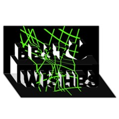 Green Neon Abstraction Best Wish 3d Greeting Card (8x4)