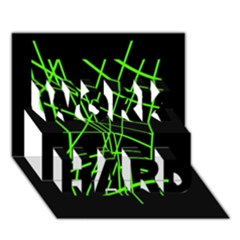 Green neon abstraction WORK HARD 3D Greeting Card (7x5)
