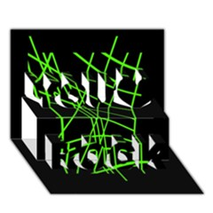Green neon abstraction You Rock 3D Greeting Card (7x5)