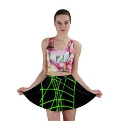 Green neon abstraction Mini Skirt