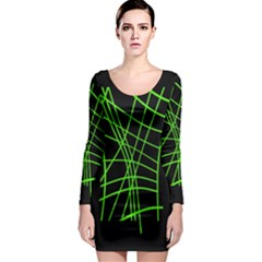 Green neon abstraction Long Sleeve Bodycon Dress