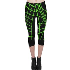 Green neon abstraction Capri Leggings