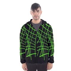 Green neon abstraction Hooded Wind Breaker (Men)