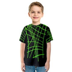 Green Neon Abstraction Kid s Sport Mesh Tee