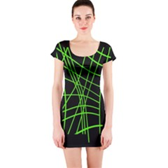 Green neon abstraction Short Sleeve Bodycon Dress