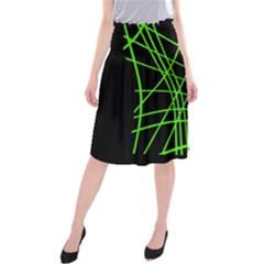 Green neon abstraction Midi Beach Skirt