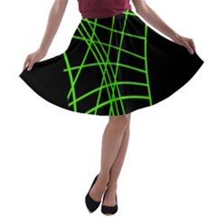 Green Neon Abstraction A Line Skater Skirt