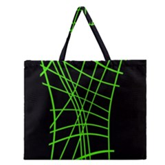 Green Neon Abstraction Zipper Large Tote Bag