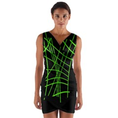 Green neon abstraction Wrap Front Bodycon Dress