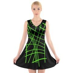 Green neon abstraction V-Neck Sleeveless Skater Dress