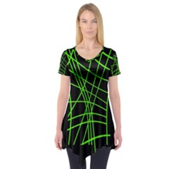 Green neon abstraction Short Sleeve Tunic