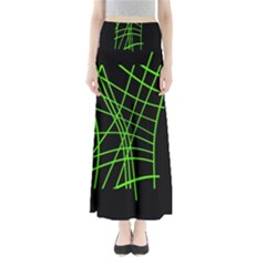 Green neon abstraction Maxi Skirts