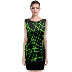 Green Neon Abstraction Classic Sleeveless Midi Dress