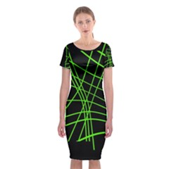 Green Neon Abstraction Classic Short Sleeve Midi Dress