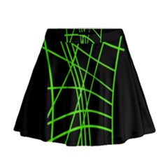 Green Neon Abstraction Mini Flare Skirt