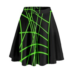 Green Neon Abstraction High Waist Skirt