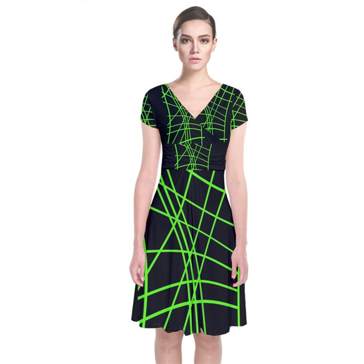 Green neon abstraction Short Sleeve Front Wrap Dress