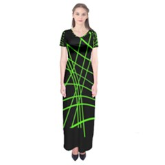 Green Neon Abstraction Short Sleeve Maxi Dress