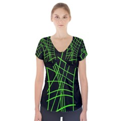 Green Neon Abstraction Short Sleeve Front Detail Top