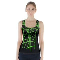 Green Neon Abstraction Racer Back Sports Top