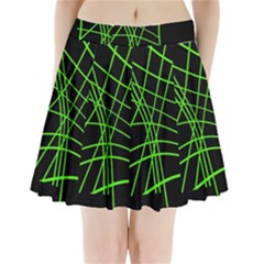 Green Neon Abstraction Pleated Mini Mesh Skirt