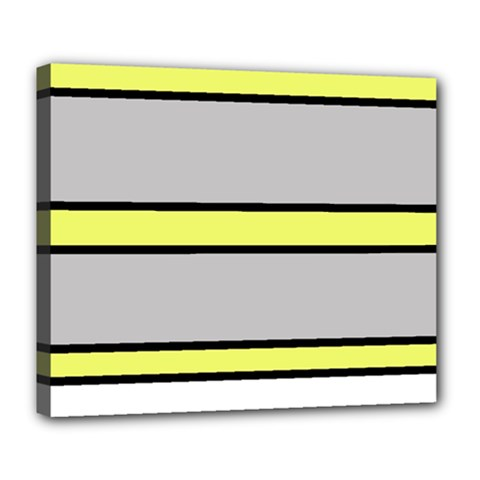 Yellow and gray lines Deluxe Canvas 24  x 20
