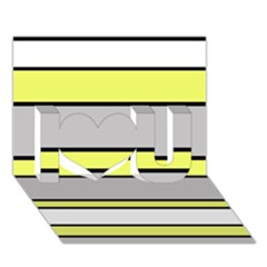 Yellow and gray lines I Love You 3D Greeting Card (7x5)