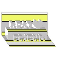 Yellow and gray lines Best Friends 3D Greeting Card (8x4)
