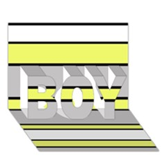 Yellow and gray lines BOY 3D Greeting Card (7x5)