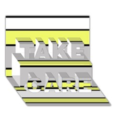 Yellow And Gray Lines Take Care 3d Greeting Card (7x5)