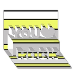 Yellow and gray lines You Rock 3D Greeting Card (7x5)
