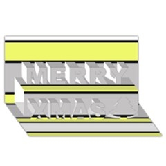 Yellow And Gray Lines Merry Xmas 3d Greeting Card (8x4)