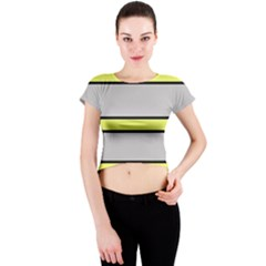 Yellow and gray lines Crew Neck Crop Top