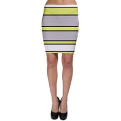 Yellow and gray lines Bodycon Skirt