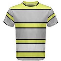 Yellow and gray lines Men s Cotton Tee