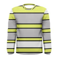 Yellow and gray lines Men s Long Sleeve Tee