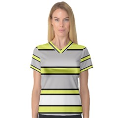 Yellow and gray lines Women s V-Neck Sport Mesh Tee