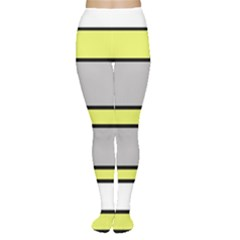Yellow and gray lines Women s Tights