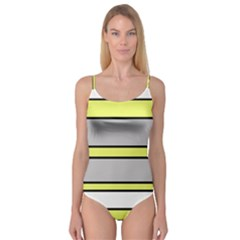 Yellow and gray lines Camisole Leotard