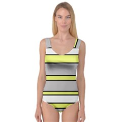 Yellow and gray lines Princess Tank Leotard