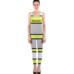 Yellow and gray lines OnePiece Catsuit
