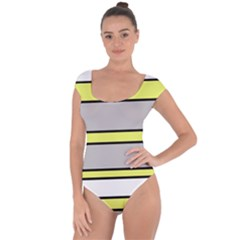 Yellow And Gray Lines Short Sleeve Leotard
